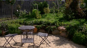 french style outdoor dining, berry garden at Lavender and Thyme Cottage